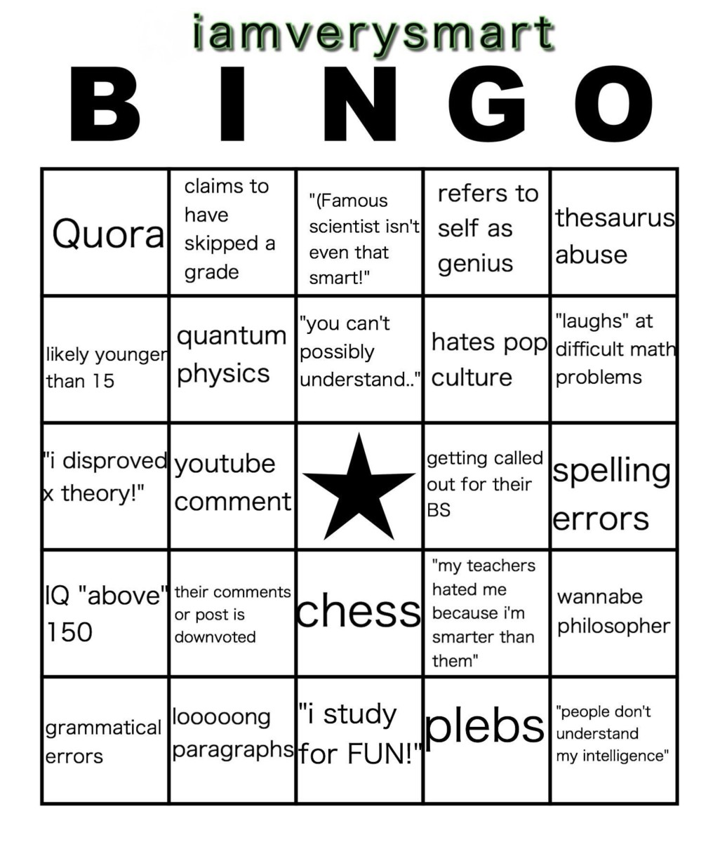 The 'I'm Smart' Bingo Card