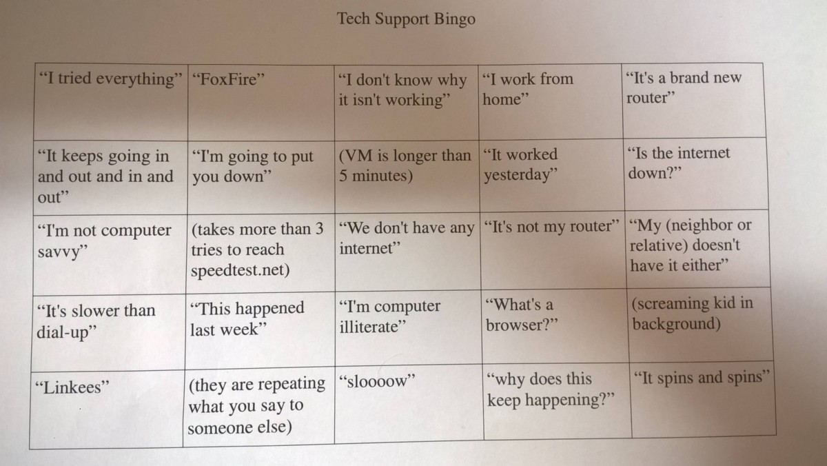 Tech Support Bingo